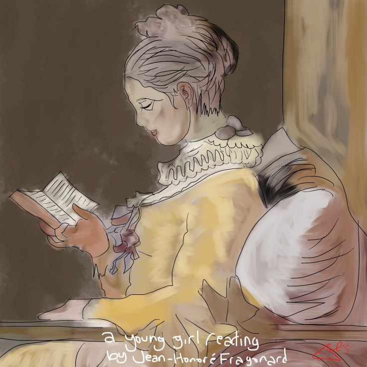 "My horrible rendition of ""A Young Girl Reading"" by Jean-Honoré Fragonard, 1776"